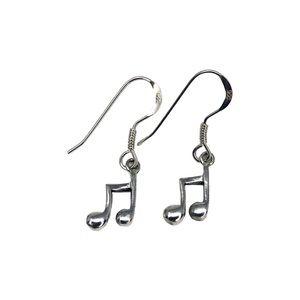 Sterling Silver Dangling Musical Note Earrings